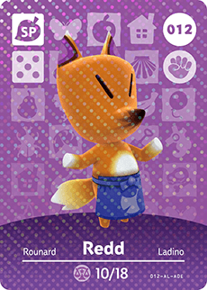 012 Redd SP Authentic Animal Crossing Amiibo Card - Series 1