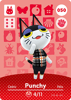 050 Punchy Animal Crossing Amiibo Card - Series 1