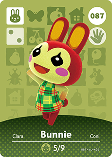 087 Bunnie Animal Crossing Amiibo Card - Series 1