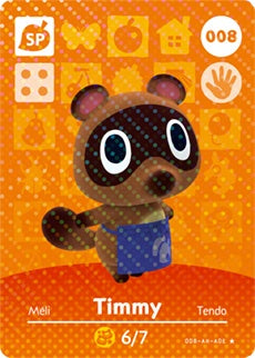 008 Timmy SP Authentic Animal Crossing Amiibo Card - Series 1