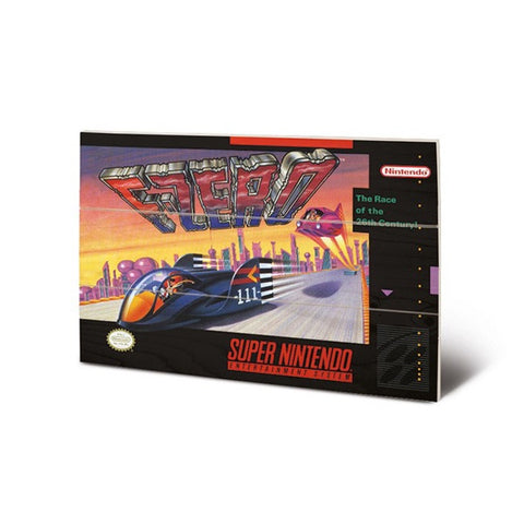 F-Zero SNES Game Cover Art 8″ x 12″ Wood Print