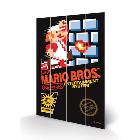 Super Mario Bros NES Game Cover Art 8″ x 12″ Wood Print