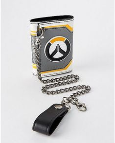 OVERWATCH - Metal Badge Trifold Chain Wallet Grey