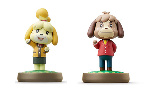 Isabelle - Winter Outfit and Digby Amiibo 2 Figure Lot (Animal Crossing Series) - Out of package