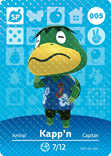005 Kapp'n SP Authentic Animal Crossing Amiibo Card - Series 1