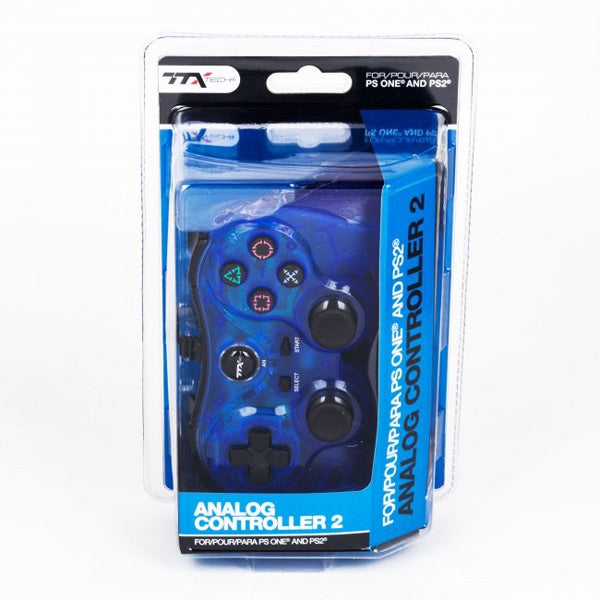 CLEAR BLUE DUALSHOCK 2 WIRED CONTROLLER [TTX TECH]