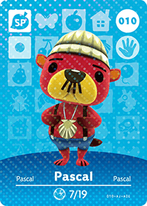 010 Pascal SP Authentic Animal Crossing Amiibo Card - Series 1