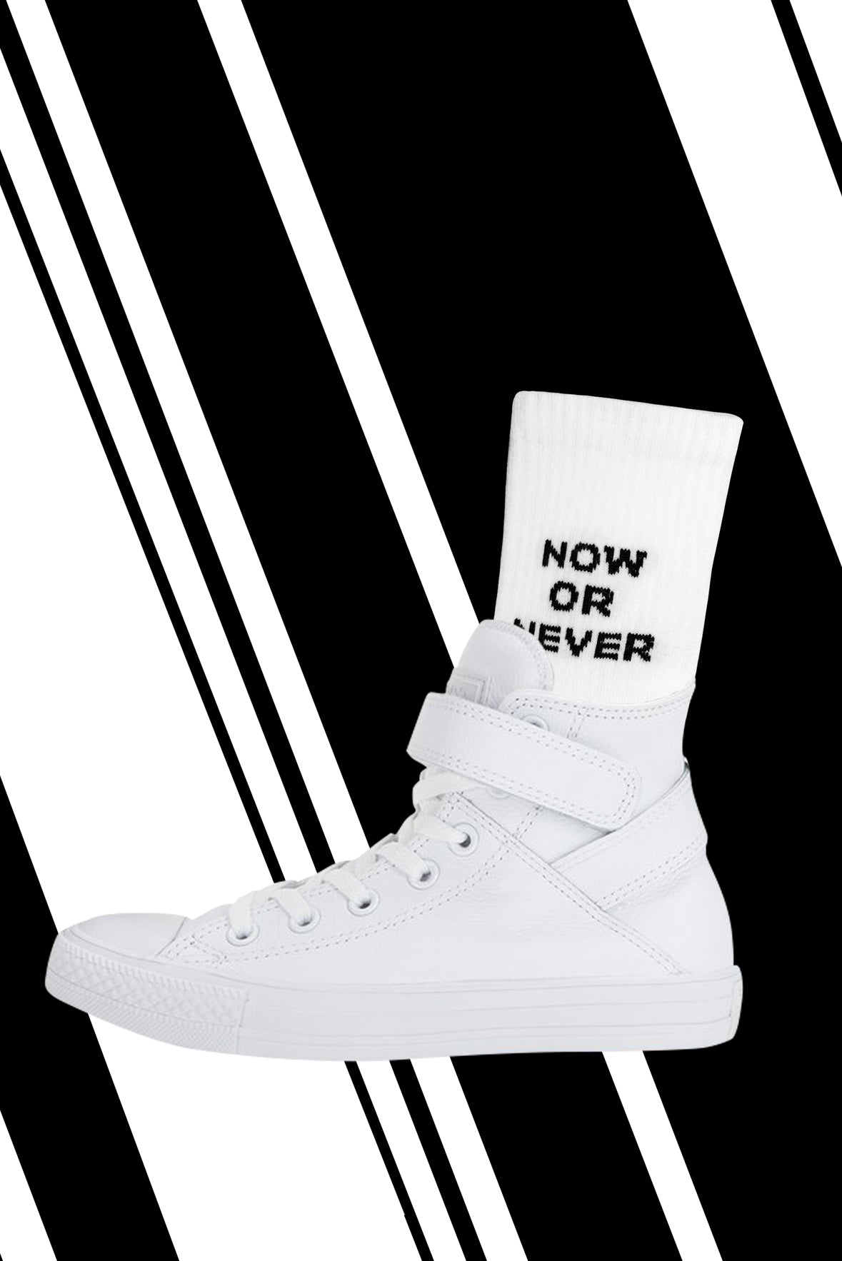 DAMN13 white socks with a naughty slogan. Wear with pride. Open to all. Identity to wear.