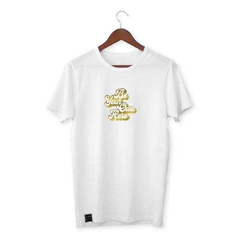 WHITE T-SHIRT / BE YOUR OWN HERO (GOLD)