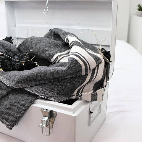 BATTANIA BLANKET IN CHARCOAL GREY & WHITE