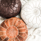 MOROCCAN LEATHER POUFFE IN CHOCOLATE BROWN