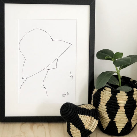HAT LADY PRINT BY GEORGINA TRESTLER
