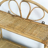 VINTAGE BAMBOO RATTAN DOUBLE SHELF