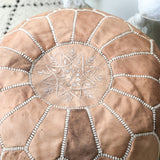 MOROCCAN LEATHER POUFFE IN LIGHT TAN