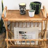 VINTAGE BAMBOO RATTAN MAGAZINE RACK WITH SHELF