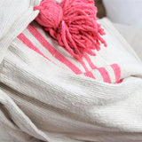 BATTANIA BLANKET IN ECRU AND PINK