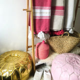 MOROCCAN VEGAN POUFFE IN GOLD