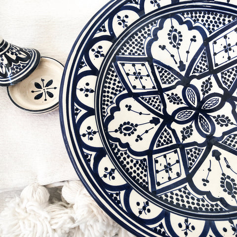 LARGE BLUE & WHITE ZWAK CERAMIC PLATE