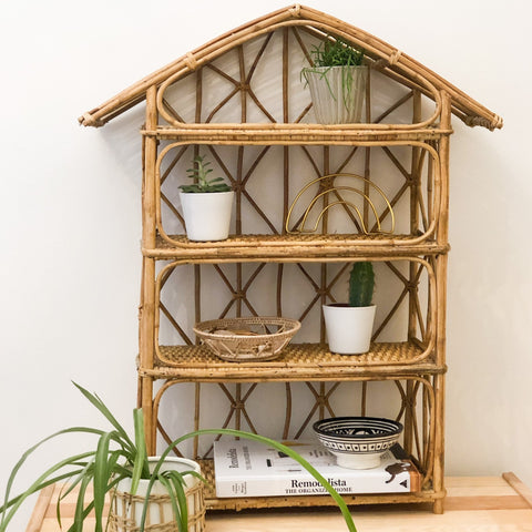VINTAGE BAMBOO RATTAN HOUSE SHELF