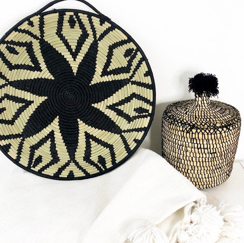 BERBER BREAD BASKET IN REED & WOOL