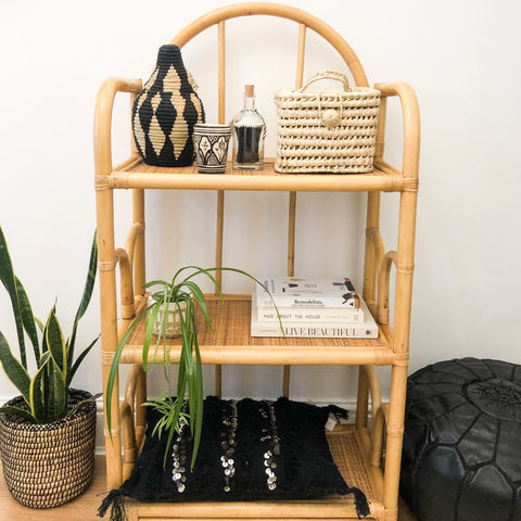 VINTAGE BAMBOO RATTAN SHELF UNIT