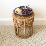 SMALL VINTAGE 1970s RATTAN SIDE TABLE / PLANT STAND