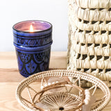 PEAR AND FREESIA SOY CANDLE IN SAPPHIRE BLUE