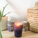 PEAR AND FREESIA SOY CANDLE IN MOROCCAN BLUE & WHITE