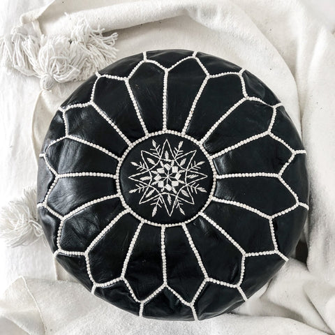 MOROCCAN LEATHER POUFFE IN MONOCHROME