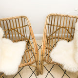 PAIR OF RARE VINTAGE 1970'S BAMBOO ARMCHAIRS