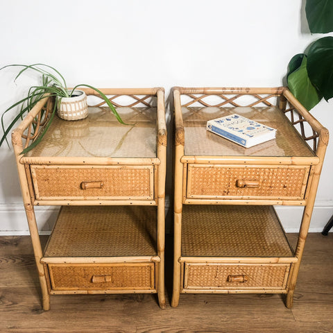 "PAIR OF RARE VINTAGE ANGRAVES ""INVINCIBLE"" BAMBOO BEDSIDE TABLES"