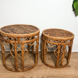 PAIR OF RARE VINTAGE 1970'S BAMBOO RATTAN NESTING TABLES