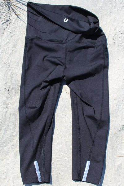 Capri pants with fold-over waistband