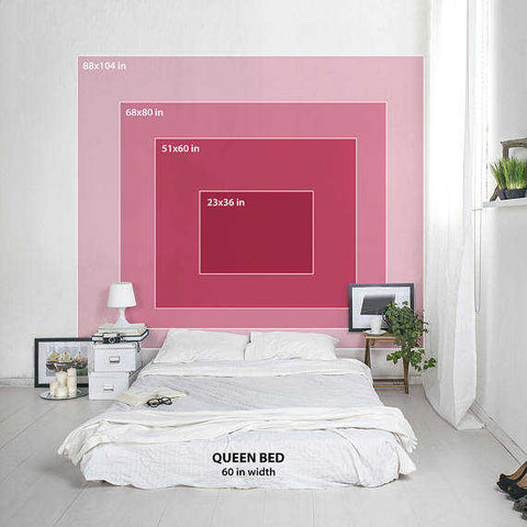 Showing the layout sizes of a custom tapestry on a wall behind a queen size bed