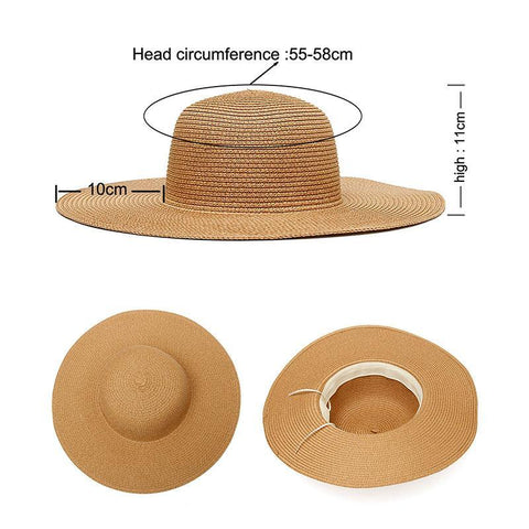 measurements of a floppy beach hat