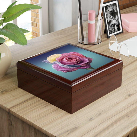 A custom jewelry box with a rose on it