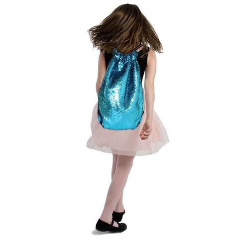 A girl with a custom sequin tote bag