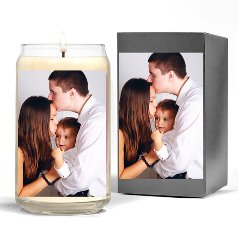 Scented Candle & Box with Image of Family - Father, Mother and Child