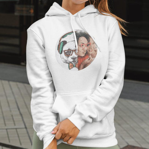 Woman wearing an expressiffy customized sequin hoodie