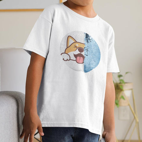 Boy wearing a personalized sequin t-shirt