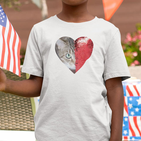 Child wearing a personalized heart sequin t-shirt