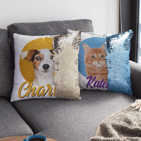 Personalized pet sequin pillows one with a dog and one with cat