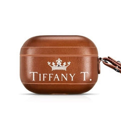 a personalized High Quality Genuine Leather Custom Airpod Pro Case with the name Tiffany on it