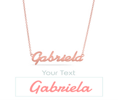 The name Gabriela on a custom name necklace