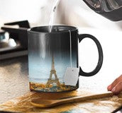 a color changing mug with the Eiffel