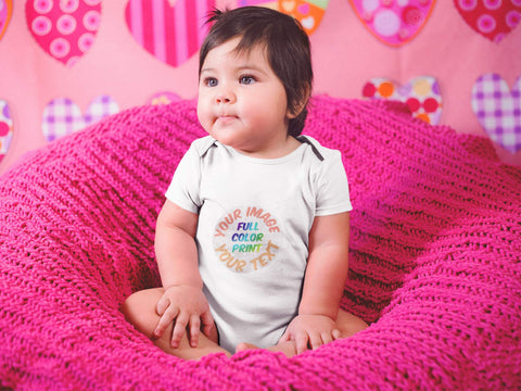 Baby wearing a personalized baby onesie