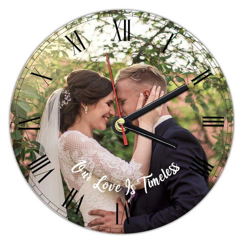 Bride and groom photo on expressiffy's customized wall clock