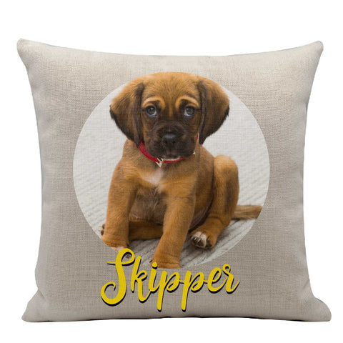 Dog photo on a personalized pet pillow