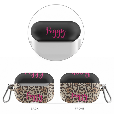 personalized airpod case with leopard skin design