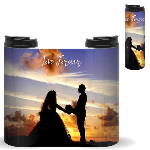 bride and groom on a personalized tumbler